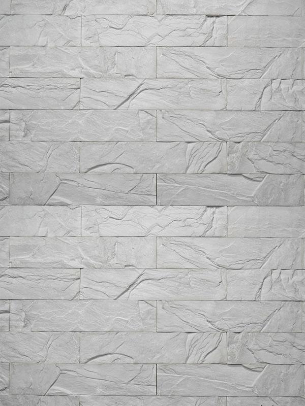 Гипсовая плитка под кирпич Уральский скол Светло-серый