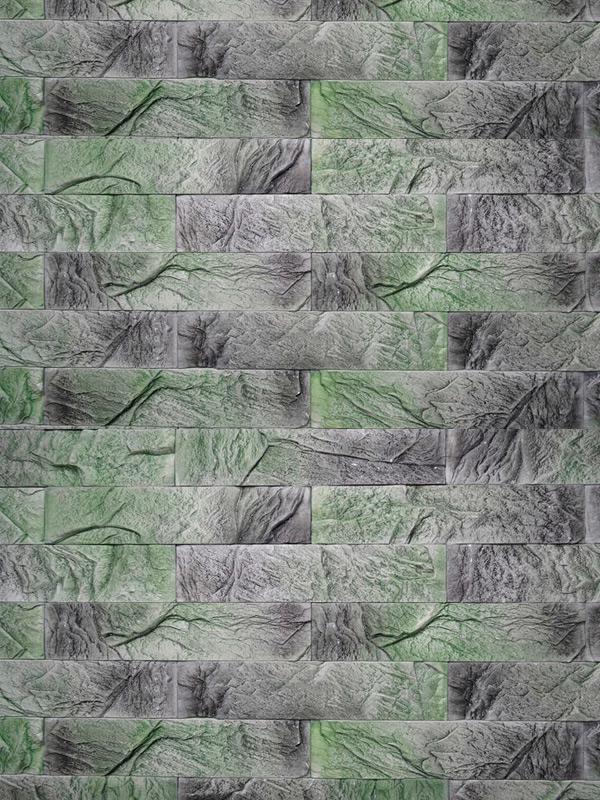 Гипсовая плитка под кирпич Уральский скол Зеленый лофт